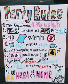 party rules – party rules – Category: Party ideen This image has get Party Set, Spa Party, Party Time, Glow Party, Fun Sleepover Ideas, Sleepover Games, Vsco, Drinking Games For Parties, Drinking Board Games
