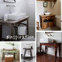 Old tables for bathroom sinks - saw this and thought of my smallish occasional table that lives at Dave's house. Diy Furniture, Furniture Design, Old Tables, Rustic Bathrooms, White Decor, Home Remodeling, New Homes, House Design, Interior