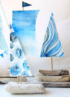 How to make driftwood boats with watercolor sails - lovely!
