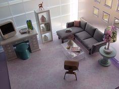 Mod Miniatures! That grey couch is EXACTLY the couch I ordered from Crate & Barrel last month.