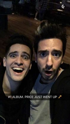 Brendon Urie and Jack Barakat. Death of a Bacjelor #1 album on Billboard 100. And it was the release party. Jan 18, 2016