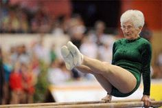86 year old stuns the world by doing a parallel bars routine at a gymnastics championship