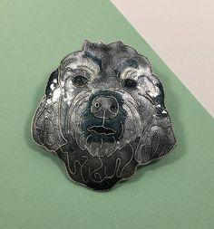 Vintage Gray Shih Tzu Pin Glass Enamel on Sterling Silver Dog