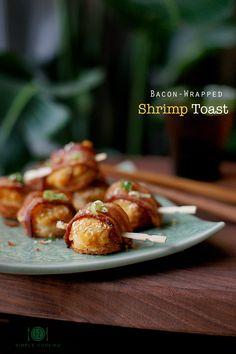 Bacon Wrapped Shrimp Toast