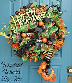 Halloween wreath Halloween witch wreath by WonderfulWreathsKim