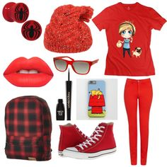 red by onecoolone on Polyvore featuring polyvore fashion style Armani Jeans Converse Stussy Armani Exchange Vanessa Bruno Athé Napoleon Perdis Lime Crime