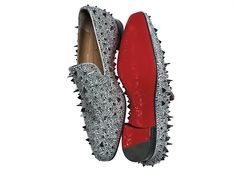 shoetastic | Christian Louboutin | Silver Studded Loafer