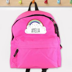 Personalised Rainbow Pink Backpack, P0710G89, Our Rainbow Pink Backpack is a stylish choice for a new school year. She's bound to be the envy of her classmates with this personalised backpack! http://www.lmfpersonalisedgifts.co.uk