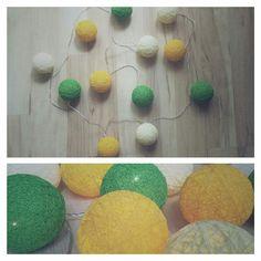 • www.facebook.com/wloczy.sie •  Handmade cotton ball lights / ręcznie robione świecące bawełniane kule