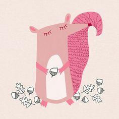 Pink Squirrel cuteness ~ kirsti davidson via Print & Pattern Pattern Illustration, Children's Book Illustration, Graphic Design Illustration, Squirrel Illustration, Illustrations Posters, Cute Art, Print Patterns, Character Design, Art Prints