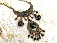 black Bohemian necklace Gypsy statement by Gypsymoondesigns, $35.00