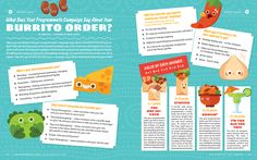 Burrito themed character designs for a personality quiz published in a marketing magazine Magazine Layout Design, Book Design Layout, Print Layout, Leaflet Layout, Kids Graphic Design, Best Children Books, Catalog Design, Magazines For Kids, Children's Picture Books