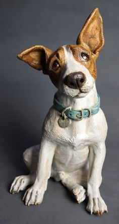 """Biscuits, you say?"" 2014 Joanne Cooke sculptures from stoneware clay. Paper Mache Sculpture, Sculptures Céramiques, Dog Sculpture, Sculpture Projects, Pottery Animals, Ceramic Animals, Clay Animals, Ceramic Art, Chien Jack Russel"