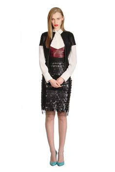 Fall 2012 Trend: Gimme Some Skin  (Charlotte Ronson's jacket, Veda's bustier and Milly's skirt, all in leather, worn with Strenesse Gabriele Strehle's silk blouse.)