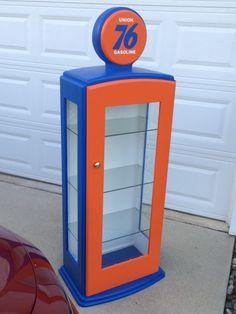 Gas Pump Curio Cabinet Garage Furniture, Automotive Furniture, Deco Furniture, Kids Furniture, Cabinet Furniture, Diy Cabinets, Display Cabinets, Hot Wheels Display, Vintage Gas Pumps