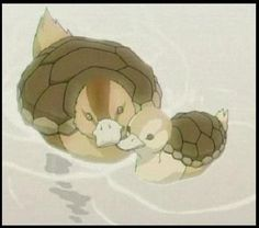 Turtle-Ducks. I want this as a tattoo, but with 2 babies.