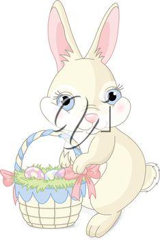 Easter bunny sitting near Easter eggs basket.