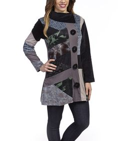 Love this Black & Gray Collage Asymmetrical-Collar Jacket by Leopards & Roses on #zulily, $34 !!   #zulilyfinds