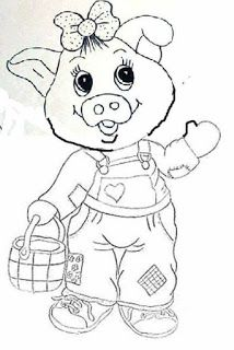 Pig with overall Cute Coloring Pages, Animal Coloring Pages, Coloring For Kids, Adult Coloring Pages, Coloring Sheets, Coloring Books, Embroidery Applique, Embroidery Patterns, Quilt Patterns