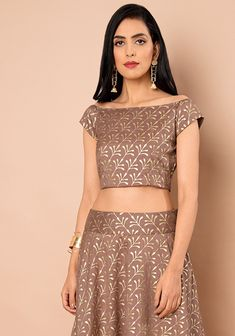 15e5b4ff4fc70c Buy women Old Rose Foil Boat Neck Silk Crop Top online in India. Shop  latest collection of Crop Tops for women with COD and easy return at Indya.