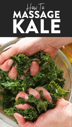 How to Massage Kale Massaged Kale Salads are all the rage right now. We love massaged kale salads, but how do you massage kale? Don't worry, we've got you covered with this super simple tutorial! Let's massage some kale- it's easier than you think. Kale Salad Recipes, Vegetable Recipes, Kale Salads, Vegetarian Recipes, Cooking Recipes, Healthy Recipes, Recipe For Kale Salad, Simple Kale Recipes, Marinated Kale Recipe