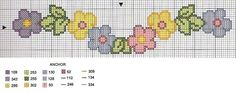 O post de gráficos de ponto cruz de hoje é de florzinhas . Cross Stitch Borders, Cross Stitch Flowers, Counted Cross Stitch Patterns, Cross Stitching, Alpha Patterns, Loom Patterns, Baby Embroidery, Embroidery Stitches, Loom Beading