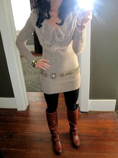 Sweater dress leggings and boots....done :)