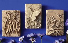 Butterfly Set ( -- Carruth Studio: Waterville, OH Ceramic Wall Art, Ceramic Clay, Tile Art, Slab Pottery, Ceramic Pottery, Pottery Art, Clay Art Projects, Clay Crafts, Sculptures Céramiques