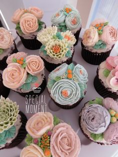 +Choco chocolate flower buttercream cupcake for Bridal shower party/butter cream cake/cupcake decorating tips ... made by SPECIAL MOMENT