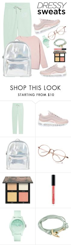 """""""💦Dressy Sweat Pants💦"""" by l-e-y-l-i-674 ❤ liked on Polyvore featuring Juvia, NIKE, Accessorize, Huda Beauty, Lacoste and MIANSAI"""