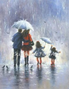 Four Sisters, Sisters Art, Art Gris, Art Bleu, Black Wall Art, Black Art, Grand Art, Family Wall Art, Umbrella Art