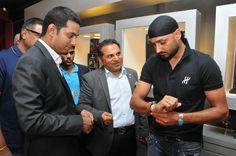 Harbhajan Singh trying on the Hublot Chukker Bang at Rose - The Watch Bar