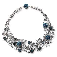 Tamara Grüner. Necklace: Dark Rose, 2016. Historical metal pieces and silver oxidised, glass. 19.5 x 19.5 x 1.6 cm.