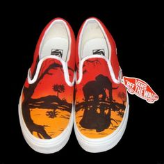 Hand Painted Vans - African Sunset via Etsy