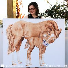 Horse giclee canvas print - Australian animal art, watercolour painting, limited edition reproduction. Instagram: @elizarose_art Facebook: @artofelizarose
