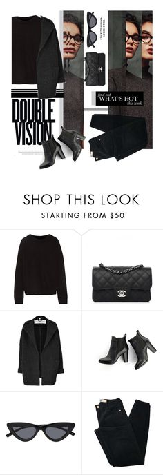 """""""Total black"""" by kallimanis ❤ liked on Polyvore featuring The Elder Statesman, Vision, Chanel, Burberry, SWEET MANGO, Brandy Melville and allblackoutfit"""