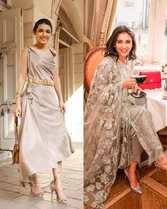 What does your wardrobe have more of, western or Indian looks? 💛 Engagement Dress For Female, Indian Engagement Dress, Engagement Dresses, Indian Look, Bridesmaid Outfit, Wedding Tips, Diva, Bollywood, Grey