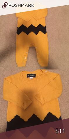 """Baby Gap Peanuts Onesie SZ 3-6M """"Charlie Brown"""" blue and yellow sweater onesie. Nice and toasty for fall. VGUC, worn once. GAP One Pieces Bodysuits"""