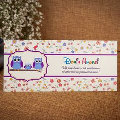 Plic bani bufnite 120PB Text Color, Place Cards, Exterior, Cots, Outdoor Rooms