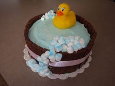 Baby Shower Cake By Raynn on CakeCentral.com (A simple DIY baby shower cake) Very cute!
