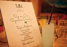 Very cool having a signature drink for your guests - whether it's a wedding or dinner party. Great idea!