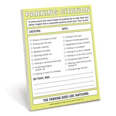 Knock Knock's Parking Citation Nifty Note is a message pad of fake parking tickets. Give a practical joke gift, prank someone with a faux parking ticket. Parking Tickets, Happy Everything, Practical Jokes, Note Paper, Gag Gifts, Sticky Notes, Bumper Stickers, Knock Knock, Nifty
