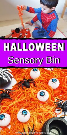 Learn how to make this Halloween themed sensory bin out of rainbow pasta. Turn spaghetti into this taste-safe sensory activity for babies, toddlers and preschoolers.    #halloween #sensory #babies #baby #toddler #preschooler Sensory Activities Toddlers, Sensory Bins, Infant Activities, Sensory Play, Stem Activities, Toddler Preschool, Sensory Table, Halloween Activities For Kids, Halloween Themes