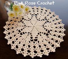 Pink Rose Crochet: Centrinho Pérola com Estrela e Leques