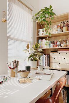 Home Art Studios, Art Studio At Home, Tiny Studio, Home Office Design, Home Office Decor, House Design, Home Decor, Workspace Inspiration, Room Inspiration