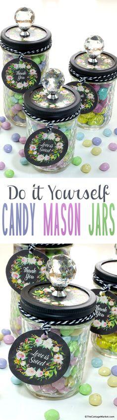 Well it is day two for this weeks Wedding In Jars Event and today we have a quick and easy DIY Candy Mason Jars Creations for you!  It is SOOOO simple…I am afraid if you blink  you will miss how to do it! : )  With the Free Printables we give you it is truly …