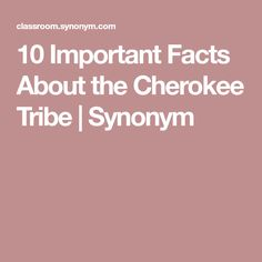 10 Important Facts About the Cherokee Tribe | Synonym