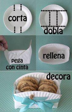 Canastita para galletas hecha con un plato desechable