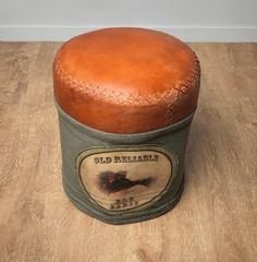 Vintage 'Old reliable' leather and hessian stool!! available @ www.marlboroughpineandoak.co.uk