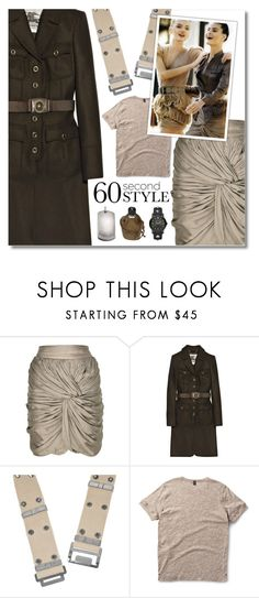 """""""60-Second Style: Military Chic"""" by jleigh329 ❤ liked on Polyvore featuring Burberry, Dr. Martens and Seven London"""